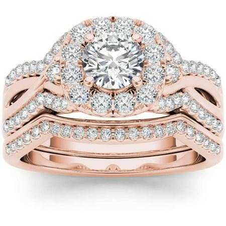 Imperial 1 1 4 Carat T W  Diamond Criss Cross Shank Halo 14Kt Rose Gold Engagement Ring Set