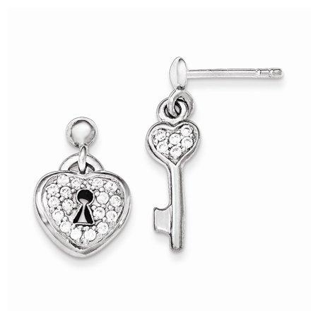 Sterling Silver Polished Cubic Zirconia Heart Lock and Key Post Dangle Earrings Dangling Heart Post Earrings
