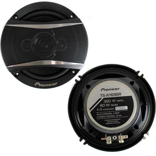 2) Pioneer 6.5 Inch 4-Way 350 Watt Coaxial Black Car Speakers Pair | TS-A1686R