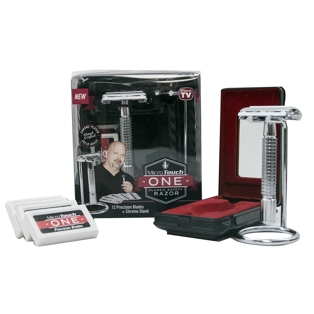 Micro Touch One Classic Safety Razor Deluxe Set w/Bonus Travel Case, Razor , Razor Stand & An Additional 36 Blades ! by Pawn Star