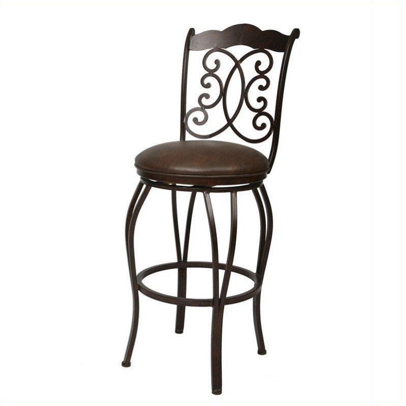 "Pastel Furniture Athena 30"" Swivel Bar Stool in Florentine Coffee by Pastel Furniture"
