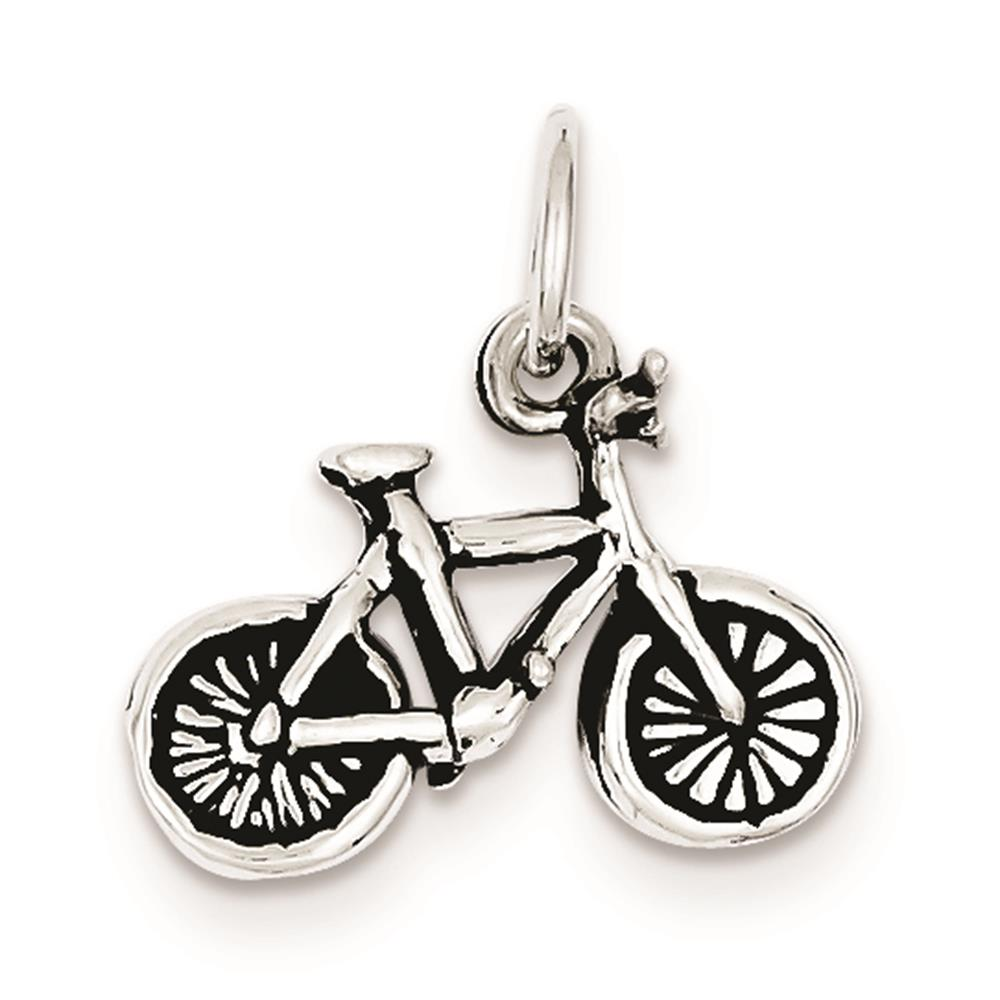 925 Sterling Silver Antiqued 3-D Bicycle Charm Pendant