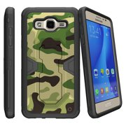 Miniturtle® Case for Samsung Galaxy J120, Amp 2, and Express 3,  Cover [MAX DEFENSE]-Dual Layer Case, Sleek Exterior Built in Kickstand + Holster - Green Camouflage