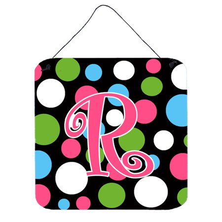 Letter R Initial Monogram - Polkadots and Pink Wall or Door Hanging Prints ()