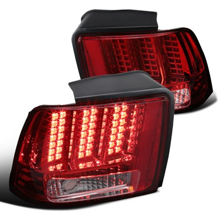 Spec-D Tuning For 1999-2004 Ford Mustang Red Sequential Led Tail Lights Rear Brake Lamp Left + Right 1999 2000 2001 2002 2003 2004