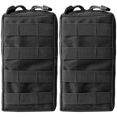 Gear Pouches - 2 x Compact Water-resistant Tactical Molle Pouch EDC Utility Gear Pouch Bag, Black