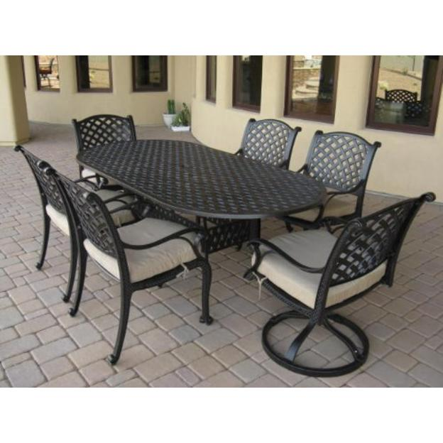 Nassau Cast Aluminum 7pc Dining Set with 42 x 84 Oval Table Series 3000