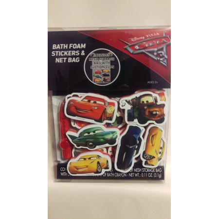Disney Cars 3 bath foam stickers and net bag