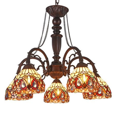 "CHLOE Lighting SERENITY Tiffany-style 5 Light Victorian Large Chandelier 27"" Wide"