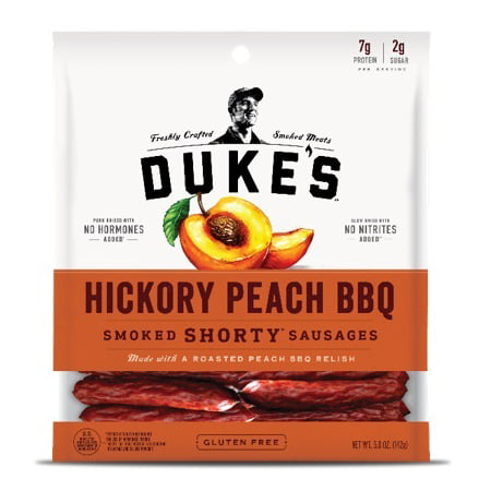 (2 Pack) Duke's Hickory Peach BBQ Smoked Shorty Sausages, 5 (Chocolate Sausage)