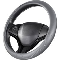 Auto Drive Gray with White Stitching Universal Fit Steering Wheel Cover