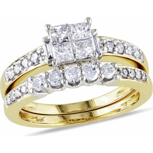 Miabella 1 Carat T.W. Princess, Baguette and Round-Cut Diamond 14kt Yellow Gold Bridal Set
