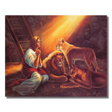 The Lion Den Daniel Praying to Jesus Religious Wall Picture 8x10 Art Print