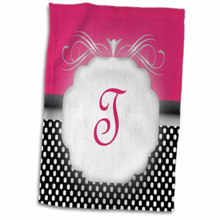 3dRose Elegant Pink with Black and White Polka Dot Monogram Letter T - Towel, 15 by 22-inch