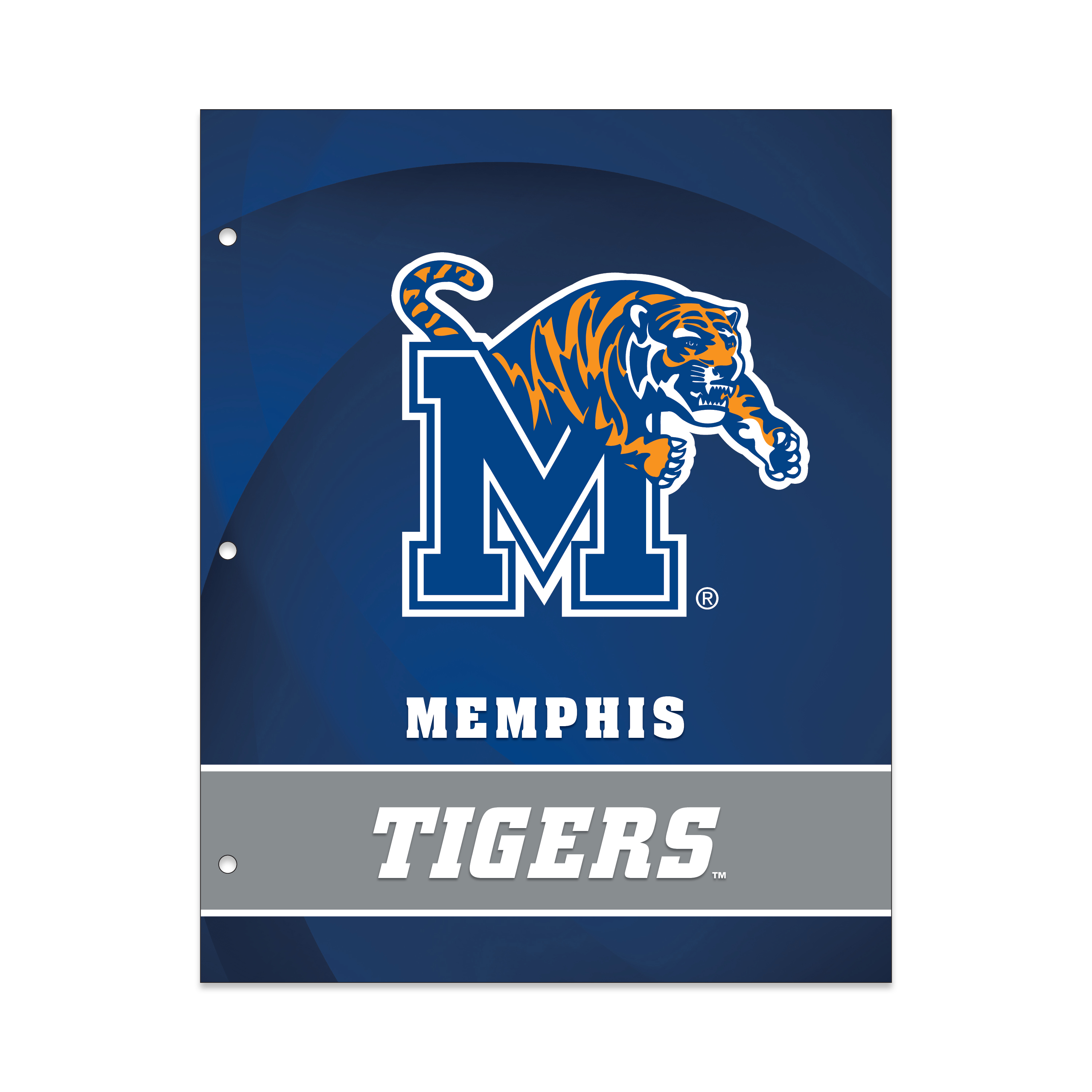NCAA Memphis Tigers 2 Pocket Portfolio, Three Hole Punched, Fits Letter Size