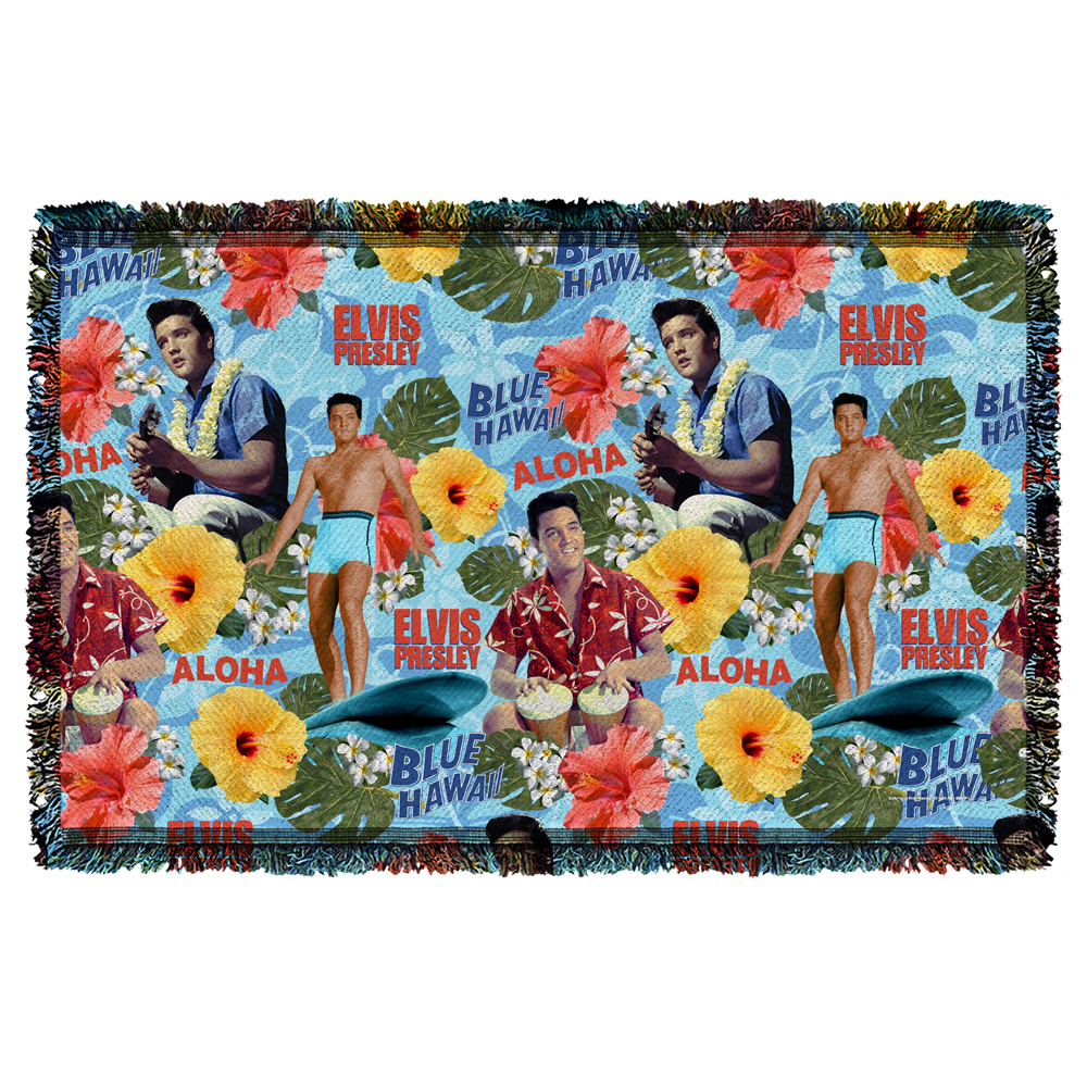 Trevco Elvis Blue Hawaii Woven Throw White 48X80