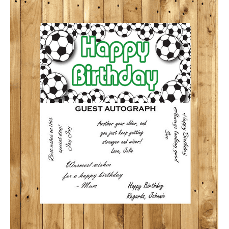 Soccer birthday Guest Autograph Peel and Stick For Keepsake Removable Poster 13 x 24inches