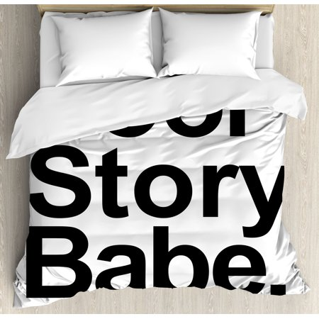 Quote Decor King Size Duvet Cover Set, Cool Story Babe Now Go Make Me A Sandwich Fun Phrase Sarcastic Slang Image, Decorative 3 Piece Bedding Set with 2 Pillow Shams, Black White, by Ambesonne