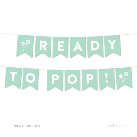 Mint Green Ready to Pop Baby Shower Pennant Banner Garland