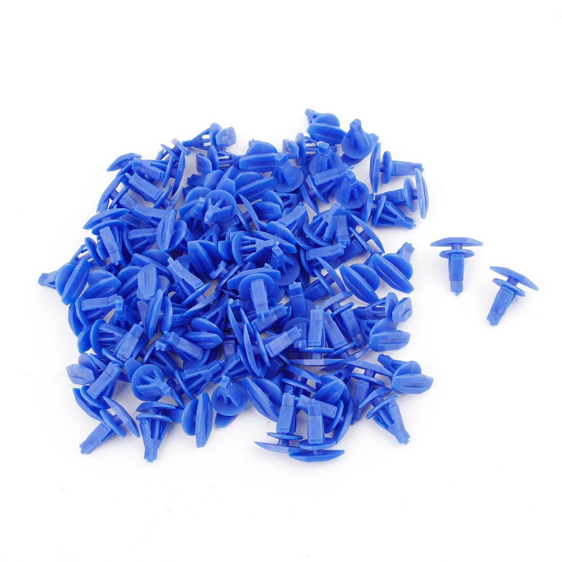 Unique Bargains 15mm Dia Blue Fastener Rivet Push in Type Retainer Bumper Clips Blue 100 Pcs