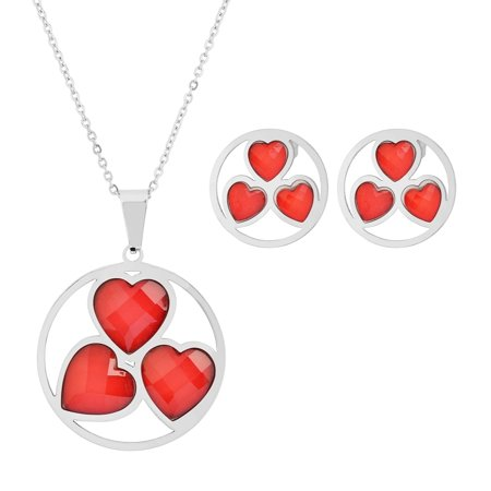 Valentines Day Pierced Heart - Edforce Valentines Day Gift Stainless Steel 3 Heart Circle Pendant 3 Heart Circle Earrings Red, N: 45+5cm