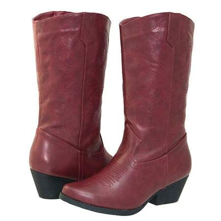 Western Style Boots - Shoes 18 Womens Faux Leather Western Cowboy Boots W/Traditional Embroidery (11, Burgundy 6314 Tall)