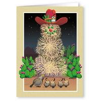 Tumbleweed Snowman Western Theme Christmas Card - 18 Cards/ 19 Envelopes
