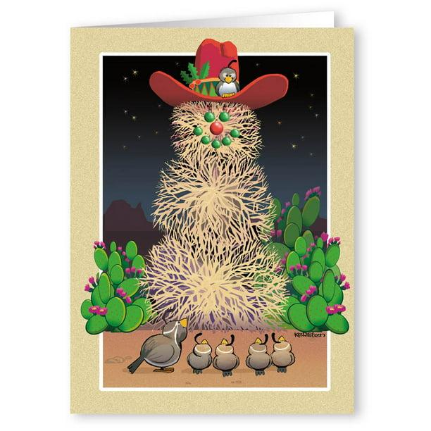 Tumbleweed Snowman Western Theme Christmas Card