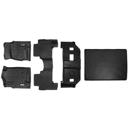 Maxliner 2015-2019 Cadillac Escalade ESV Floor Mats 3 Row Set Maxtray Cargo Liner Behind Second Row Black (Cadillac Escalade Esv Rear Floor)