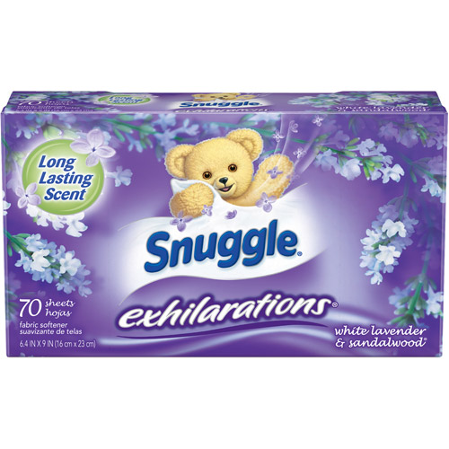 Snuggle Exhilarations Fabric Softener Dryer Sheets, White Lavender & Sandalwood Twist, 70 ct