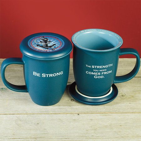 Image of Mug-Grace Outpoured-Be Strong-Teal w/Coaster/Lid