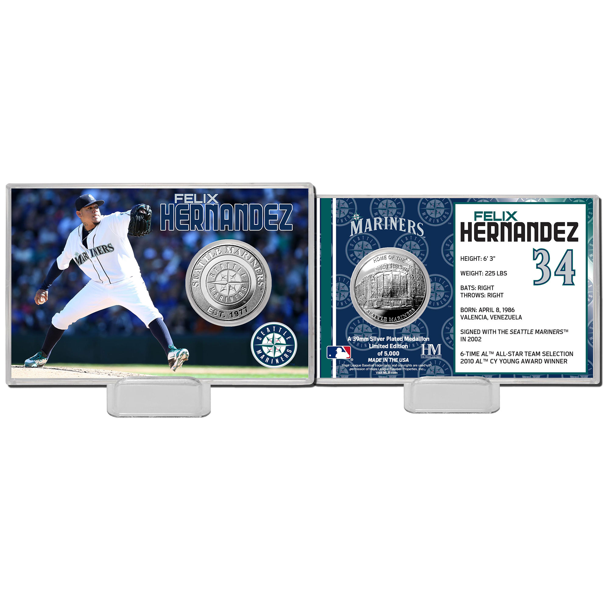 Highland Mint Felix Hernandez Seattle Mariners Mint Player Silver Collector Coin Card - No Size