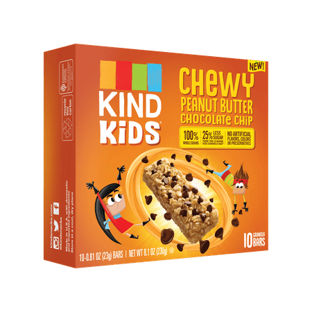 (2 Pack) KIND Kids, Peanut Butter Chocolate Chip Granola Bar, 10ct, .81 oz Bars, Gluten Free, Non GMO, 100% Whole Grains Choc Chip Cookie Bars
