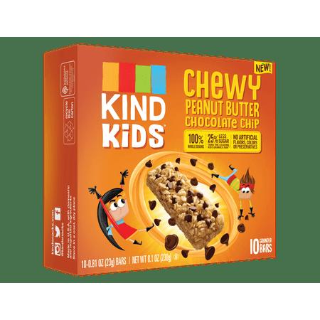(2 Pack) KIND Kids, Peanut Butter Chocolate Chip Granola Bar, 10ct, .81 oz Bars, Gluten Free, Non GMO, 100% Whole Grains