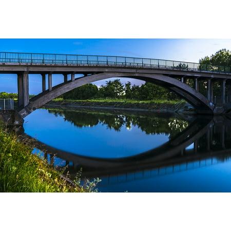 Canvas Print Long Exposure Night Photograph Mirroring Bridge Stretched Canvas 10 x 14 (Photo Exposure)
