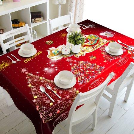 Mosunx Merry Christmas Rectangular Printed Fabric Party Picnic Tablecloth - Christmas Table Cloth