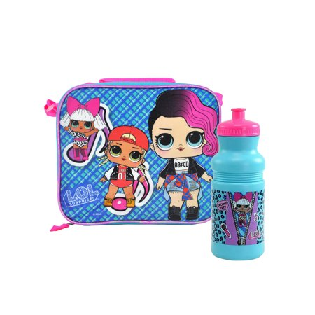 LOL Surprise Insulated Lunch Bag w/Shoulder Strap & 18oz Water Bottle 2-Pcs