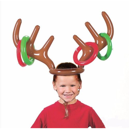 Inflatable Reindeer Antler Ring Hat Toss Game with Ring Christmas Birthday Gift for Children