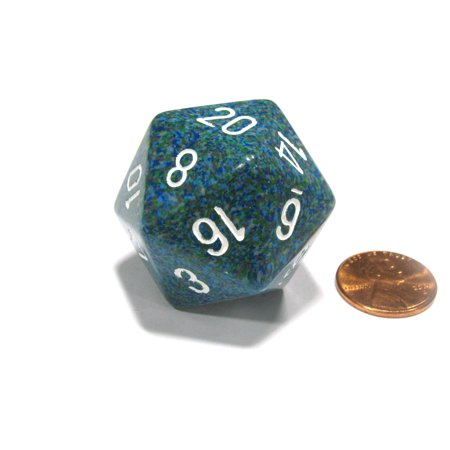 Chessex 34mm Large 20-Sided D20 Speckled Dice, 1 Die - Sea #XS2037