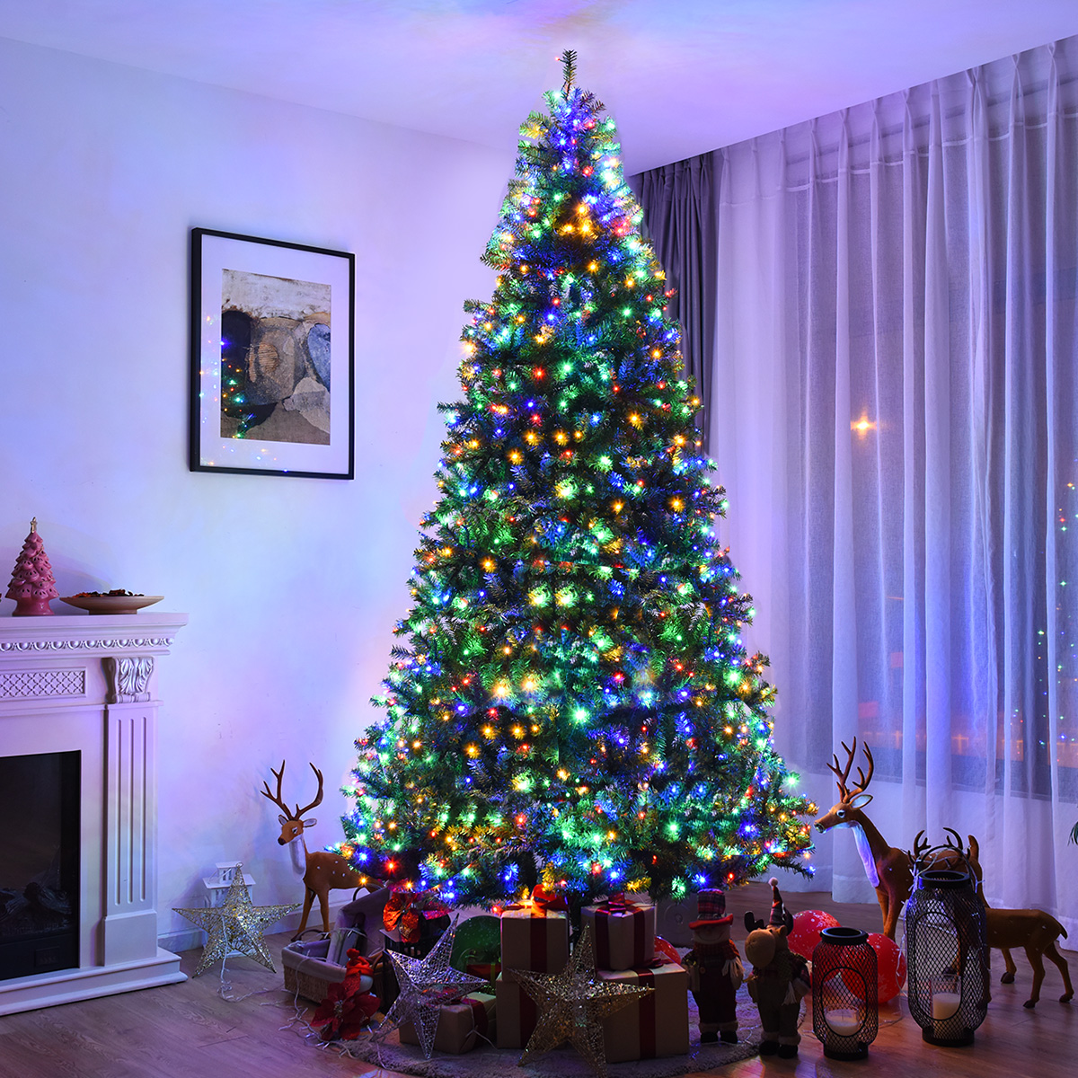 Pre Lit Led Lights Christmas Tree: Costway 9Ft Pre-Lit Artificial Christmas Tree Premium