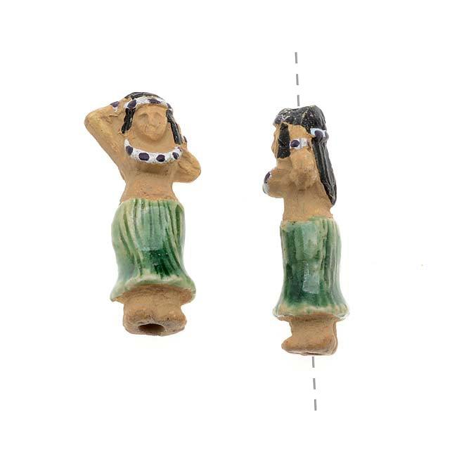 Glazed Ceramic Bead - Tiny Tiki Girl With Green Hula Skirt 9x18.5mm (2)