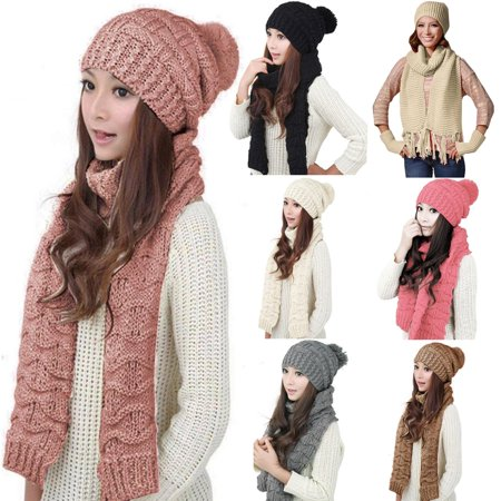 Girl12Queen Fashion Women Winter Warm Cotton Neck Warm Wrap Scarf Shawl Beanie Hat Set Gift - White Witch Hat