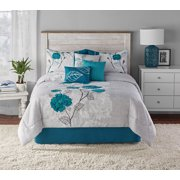 Mainstays Teal Roses 7-Piece Comforter Set