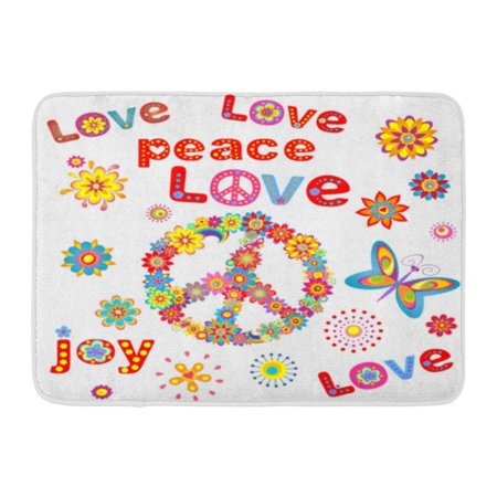 GODPOK 70S Colorful 1970S Flower Power Raster Copy 60S Back Rug Doormat Bath Mat 23.6x15.7 inch](70s Flower Power Fashion)