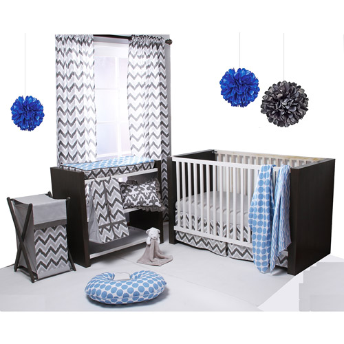 Bacati Ikat 6-Piece Crib Bedding Set, Blue/Grey
