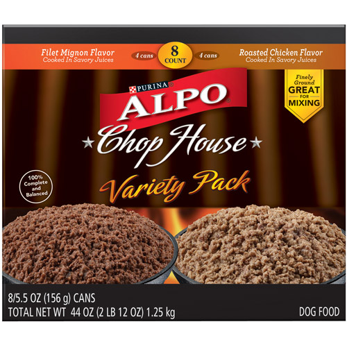 ALPO Wet Dog Food, Chop House Variety Pack, 5.5 oz Cans, Pack of 8