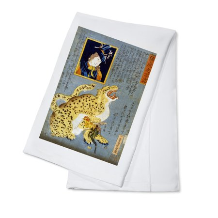 Japan Rooster (Leopard that has Caught a Rooster Japanese Wood-Cut Print (100% Cotton Kitchen)