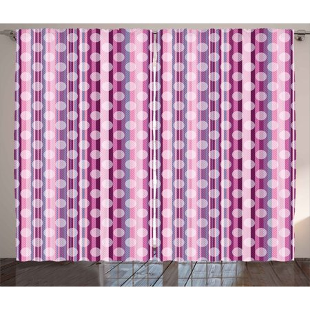 Pink Curtains 2 Panels Set, Stripes Lines with Abstract Round ...