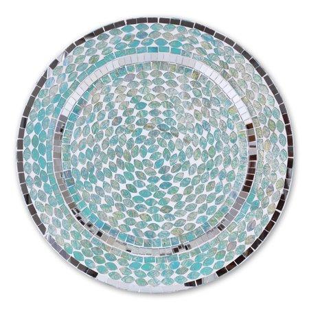 Koyal Wholesale Mosaic Charger Plates, Ocean Mosaic Tiles Art Glass Charger Plates, Aqua Blue, Set of 4, Home Decor