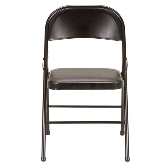 Mainstays Vinyl Folding Chair Black Walmart Com